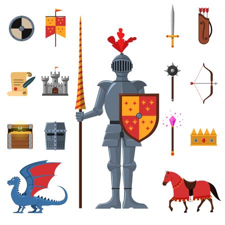 castillo medieval: Reino medieval guerrero legendario caballero armado con lanza y atributos iconos planos establecidos abstracto aislado ilustración vectorial