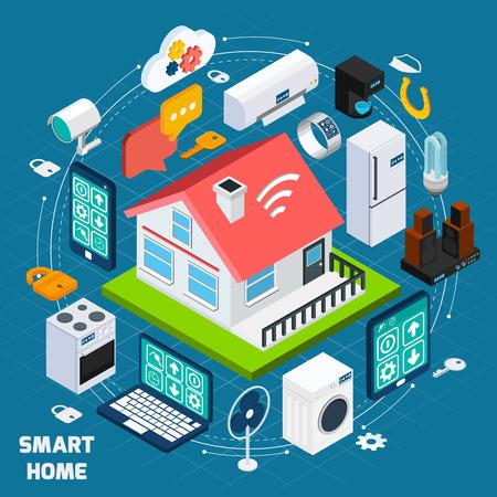 Smart Home IOT Internet des choses confort et la sécurité concept de technologie innovante bannière isométrique abstraite illustration vectorielle