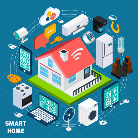 security monitor: Smart home iot internet of things comfort and security innovative technology concept  isometric banner abstract vector illustration