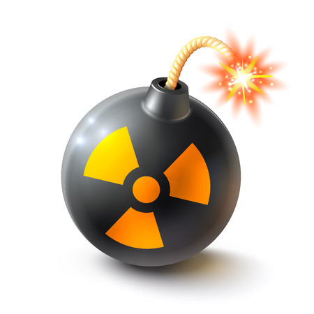 burning time: Black round bomb with radioactive sign and burning fuse realistic isolated vector illustration