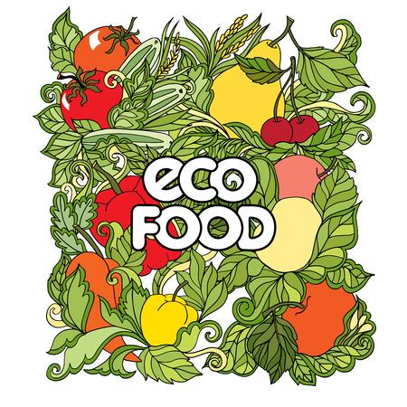 cocina caricatura: Doodle conjunto de dibujos animados con las verduras y frutas de colores y marca de alimentos eco en el fondo blanco ilustraci�n vectorial