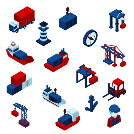 Isometric Color seaport icons set with barge containers and port facilities isolated vector illustration