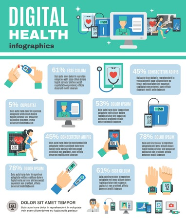 Digitale gezondheid infographics set met mobiele diagnostiek en telegeneeskunde symbolen vector illustratie Stock Illustratie