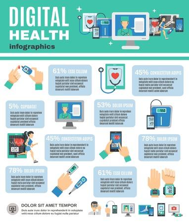 Digital health infographics set with mobile diagnostics and telemedicine symbols vector illustration