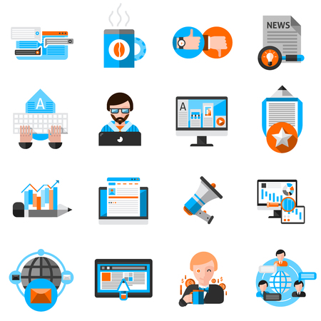 online news: Blogging icons set with laptop coffee and communication symbols flat isolated vector illustration Illustration