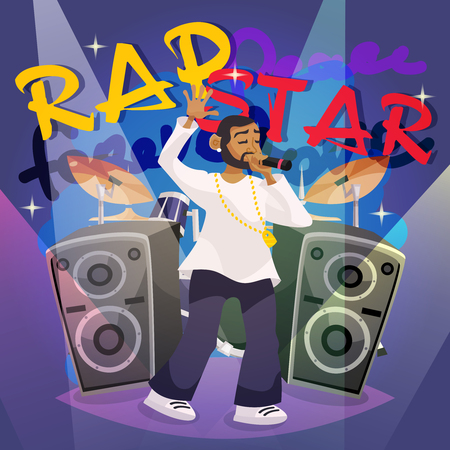 rap music: Rap music poster with cartoon hip-hop singer character vector illustration