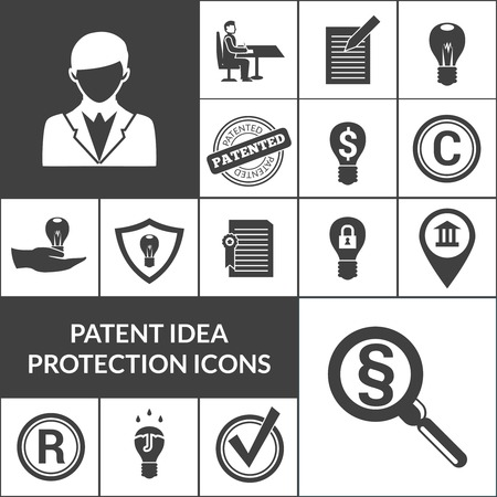 intellectual property: Patent idea protection and intellectual property icons black isolated vector illustration
