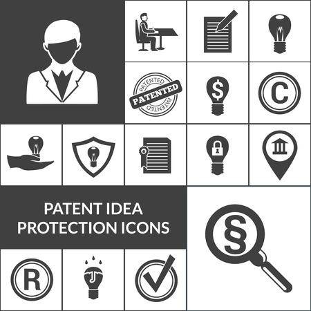 patente: Protecci�n idea de Patentes y propiedad intelectual iconos aislados negro ilustraci�n vectorial