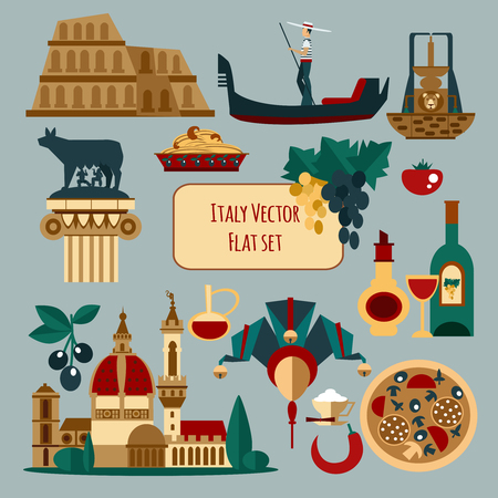 italy culture: Italy touristic set with olive pasta venice mask isolated vector illustration Illustration