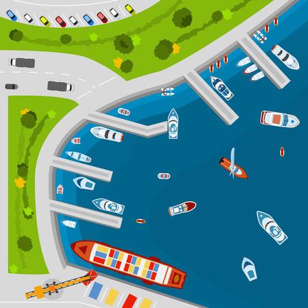 chaloupe: dockyard Mer zone portuaire terminal avec des navires de charge en vue de dessus du dessus affiche plat résumé, vecteur, illustration