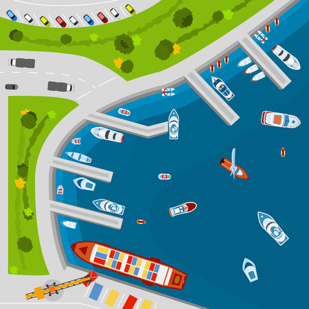 disposition: Seaside dockyard harbor terminal area with cargo vessels top view from above poster flat abstract vector illustration Illustration