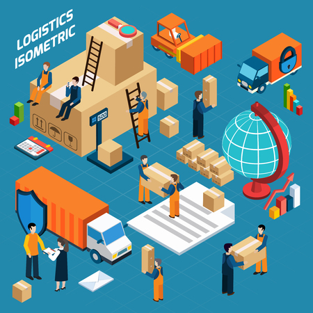 illustration isolated: Isometric warehouse logistic concept with workers packed goods forklift and containers  vector illustration