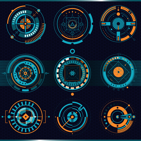 Touch HUD round interface set with high tech design flat isolated vector illustration Ilustrace