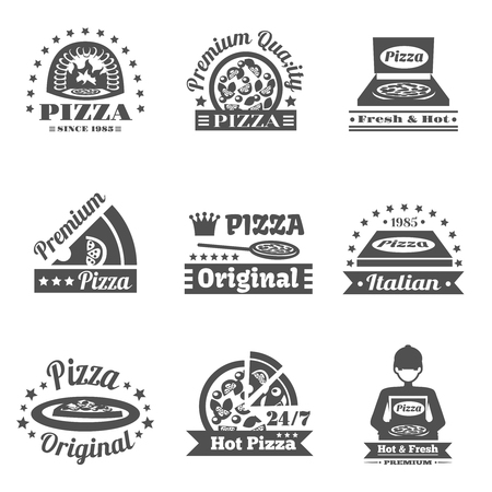 pizzeria label: Pizzeria and pizza delivery premium quality label set isolated vector illustration Illustration