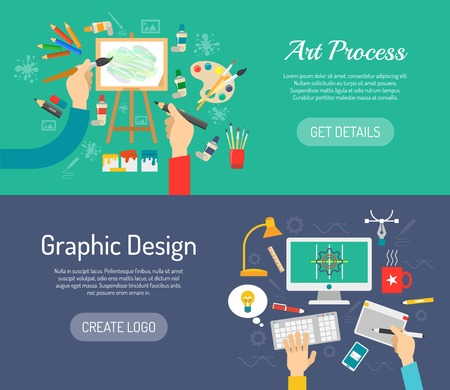 people laptop: Creative process horizontal banners set with painter and graphic designer workspace isolated vector illustration