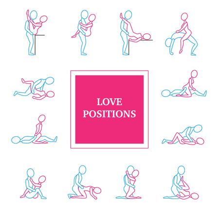 Kama sutra liefde posities lijn iconen set met titel vlakke geïsoleerde vector illustratie
