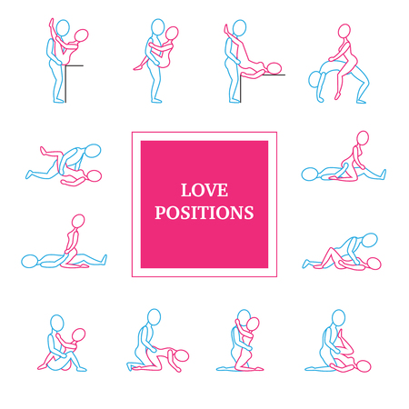 Kama sutra love positions line icons set with title flat isolated vector illustration