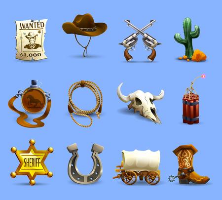 oeste: Iconos realistas salvaje oeste establecidos con dinamita sombrero de vaquero y cactus en el fondo aislado azul ilustración vectorial