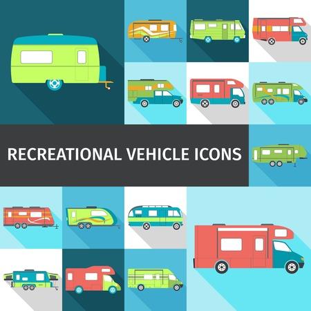 Recreational vehicle flat long shadow icons set isolated vector illustration Illustration
