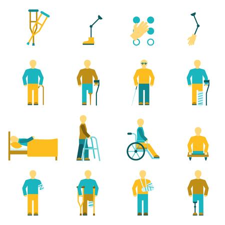 Personen met een handicap iconen set inclusief amputatie rolstoel en gezichtsproblemen symbolen flat geïsoleerd vector illustratie