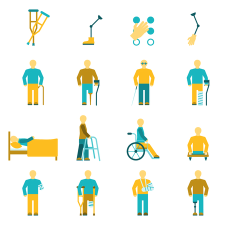 People with disabilities icons set including amputation wheelchair and eyesight problems symbols flat isolated vector illustration Illustration
