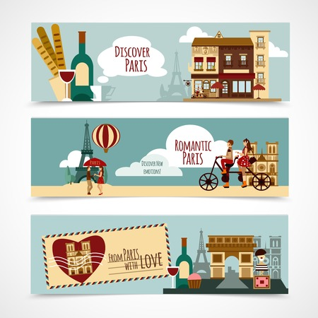 touristic: Paris horizontal banner set with touristic elements isolated vector illustration