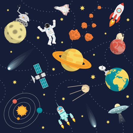 Space background flat with stars planets and astronaut vector illustration