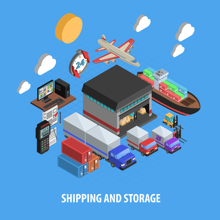 forwarder: Shipping and storage isometric concept with sea air and land delivery warehouse and equipment vector illustration Illustration