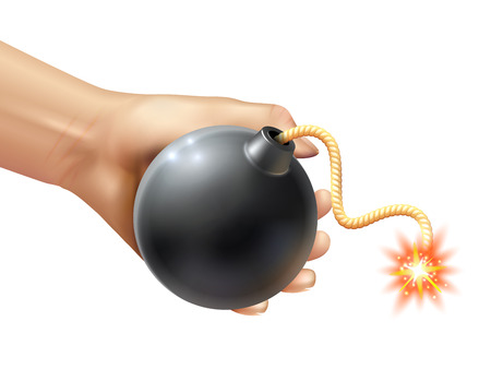 fuse: Hand holding a black round bomb with burning fuse realistic vector illustration