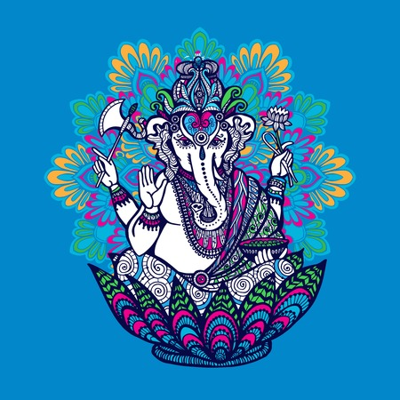 Hindu god Ganesha with ornate colored mandala on background hand drawn vector illustration