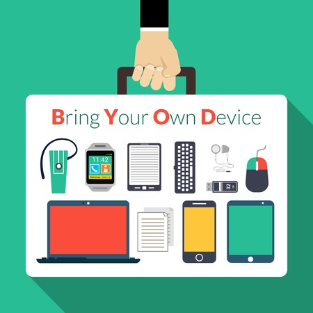 electronic device: Byod concept with human hand holding briefcase with electronic gadgets vector illustration