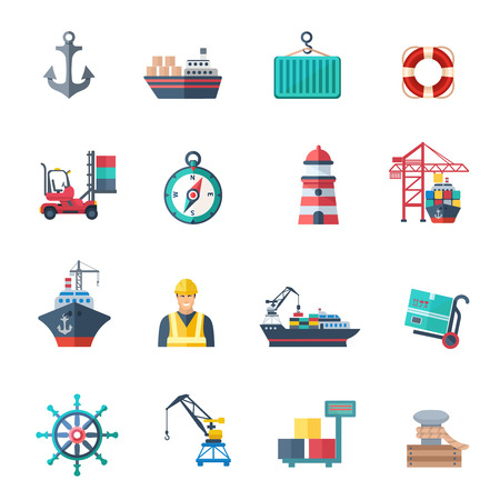 container port: Sea port icons flat set with marine shipping isolated vector illustration