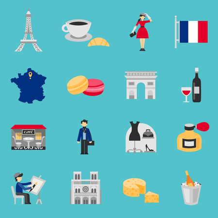 french culture: France icons flat set with wine coffee and cheese isolated vector illustration