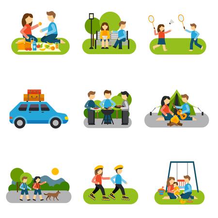 personas banandose: Conceptos excursión con amigos y familiares al aire libre aislados ilustración vectorial Vectores