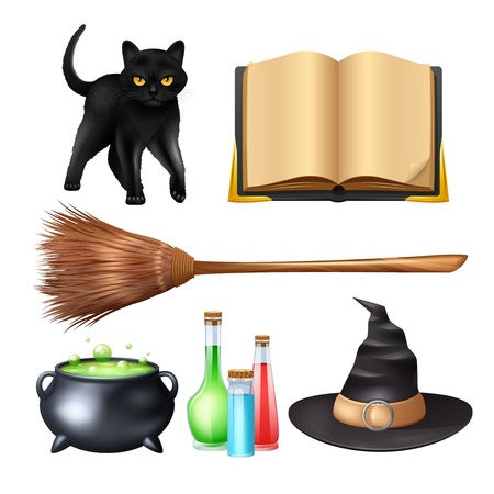 ghost cartoon: Halloween magic symbols set with black cat broom poison pot isolated vector illustration Illustration