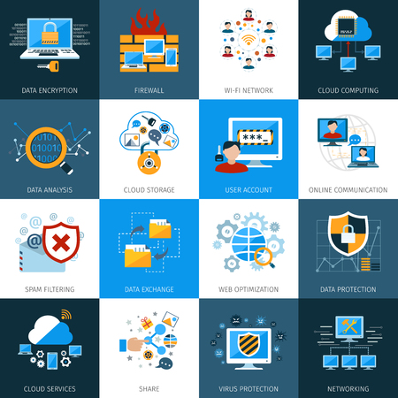 cyber business: Network security and data protection icons set isolated vector illustration