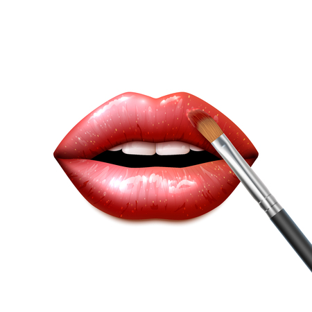 opened mouth: Lips make up with bright sparkling lipstick and a brush realistic vector illustration