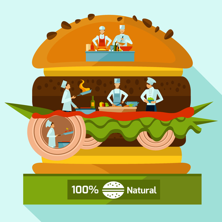 main course: Cooking concept with people in chef suits inside of layered hamburger vector illustration