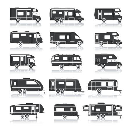 家族旅行と休暇黒アイコン セットのレクリエーションの車分離ベクトル図  イラスト・ベクター素材
