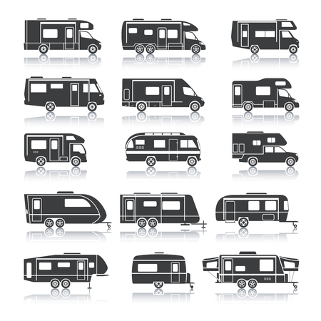 Recreational vehicles for family tourism and vacation black icons set isolated vector illustration Vectores