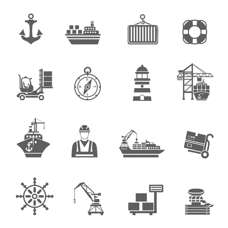 container port: Sea port black icons set with ships and marine transport isolated vector illustration