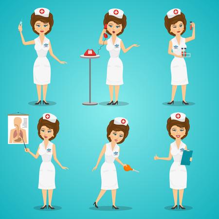 enfermera caricatura: Enfermera con jeringa y an�lisis de sangre conjunto de caracteres plana aislado ilustraci�n vectorial