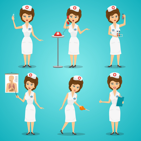 syringe: Nurse with syringe and blood test flat character set isolated vector illustration