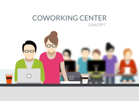 office environment: Coworking center composition with young people silhouettes working flat vector illustration Illustration