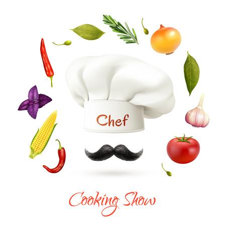 jefe de cocina: Cooking Show concepto realista con el cocinero sombrero y bigote ingredientes aislados ilustración vectorial