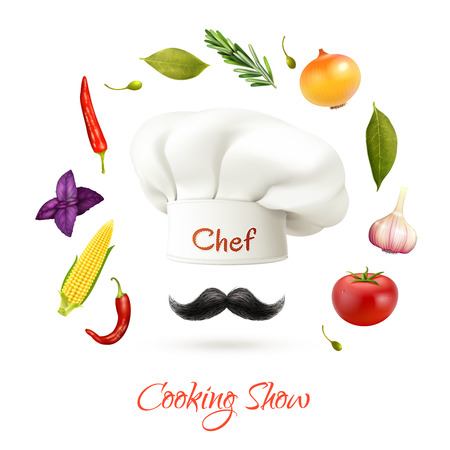 Cooking show realistic concept with chef hat mustache and ingredients isolated vector illustration Illustration