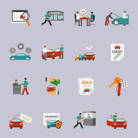 dealership: Car dealership and automobile retail icon set isolated vector illustration