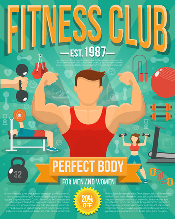 workouts: Fitness club poster with sport equipment and people doing workouts vector illustration
