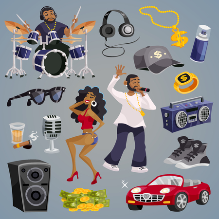 rap music: Rap music and hip-hop style elements set isolated vector illustration