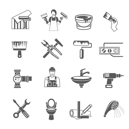 Home repair black icons set with housework and renovation tools isolated vector illustration